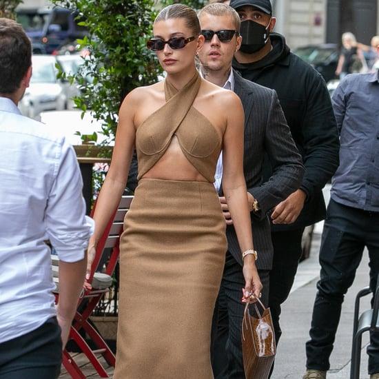 Hailey Bieber's Cutout LaQuan Smith Dress in Paris