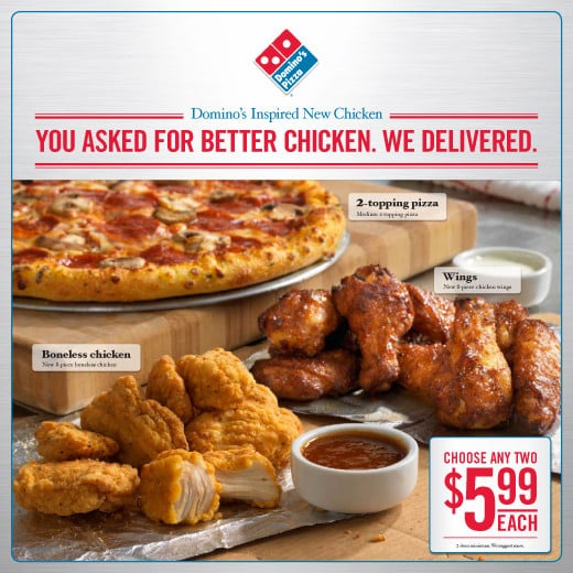Domino's Continues Menu Revamp With Boneless Chicken, Wings