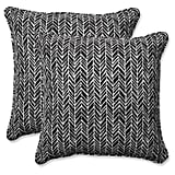 Outdoor/Indoor Herringbone Black Throw Pillow Set
