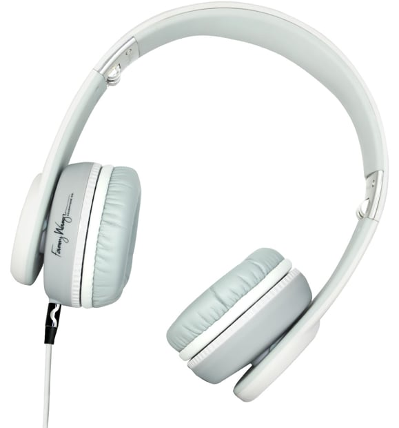 A crisp white palette with whimsical oversized ear padding.  Fanny Wang 1000 Series Headphones ($170)