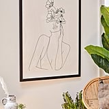 Nadja Line Art Woman With Flowers Art Print