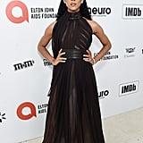 MJ Rodriguez at the 2020 Elton John AIDS Foundation Academy Oscars Party
