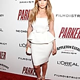 Jennifer Lopez wore a gorgeous white strapless peplum dress by Lanvin Blanche (Lanvin's bridal line), at the screening of Parker at the Museum of Modern Art. Channel the same statement look with separates via white slim-cut trousers, tee, and blazer for an effortless office getup.