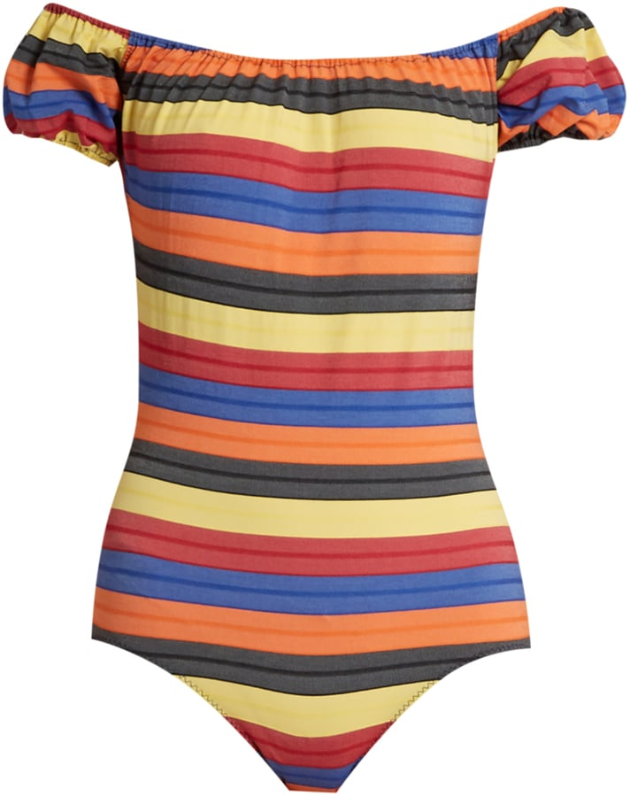 086aef5f16b Have an off-the-shoulder moment in this Lisa Marie Fernandez Leandra  Striped Swimsuit