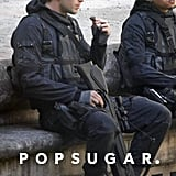 Liam Hemsworth Eating Chocolate on the Mockingjay Set
