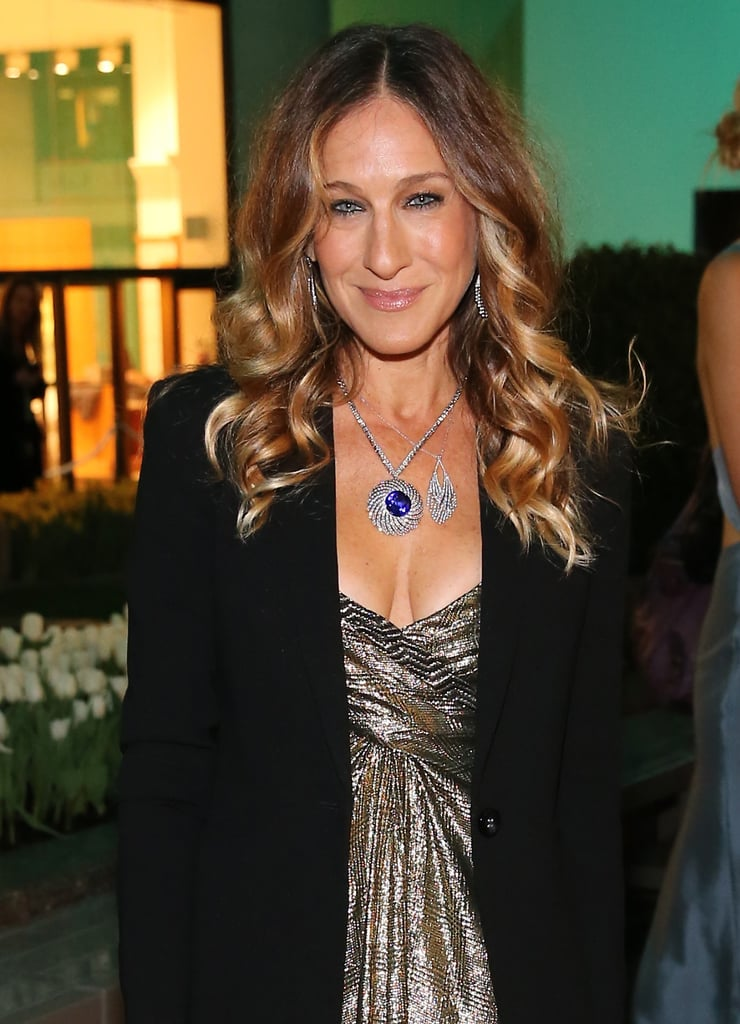 Take a look at SJP's amazing statement Tiffany & Co. round fringe necklace set in platinum ($50,000).
