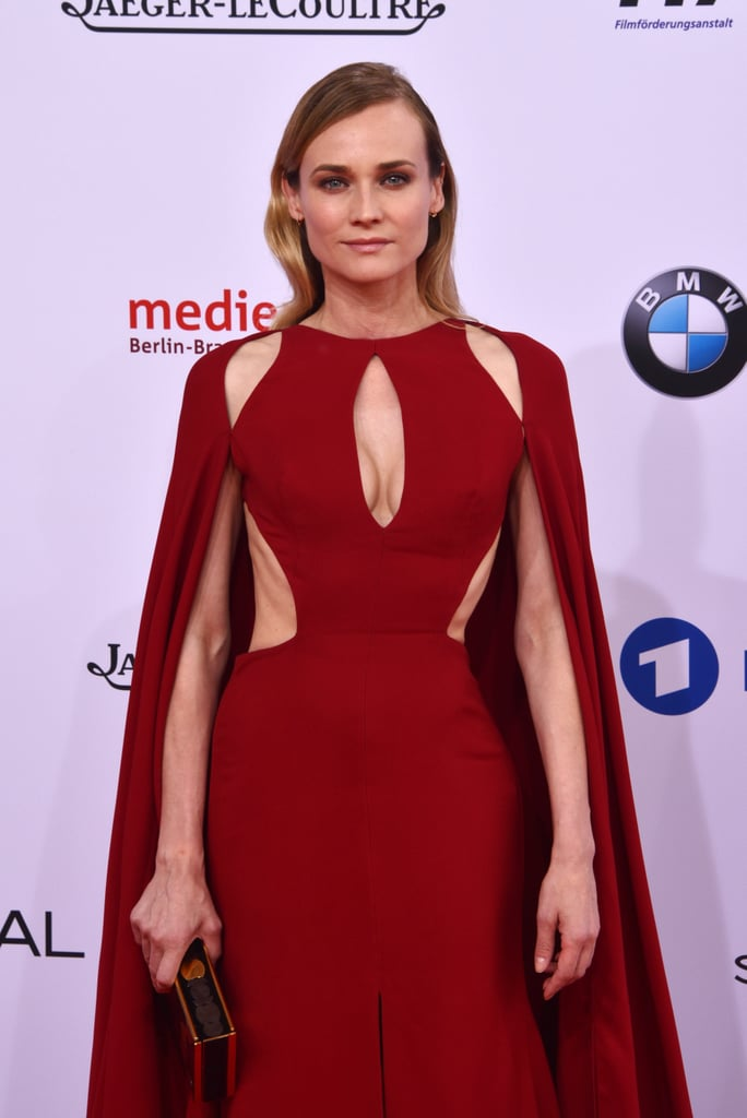 Diane Kruger Wearing Red Naeem Khan Cape Dress
