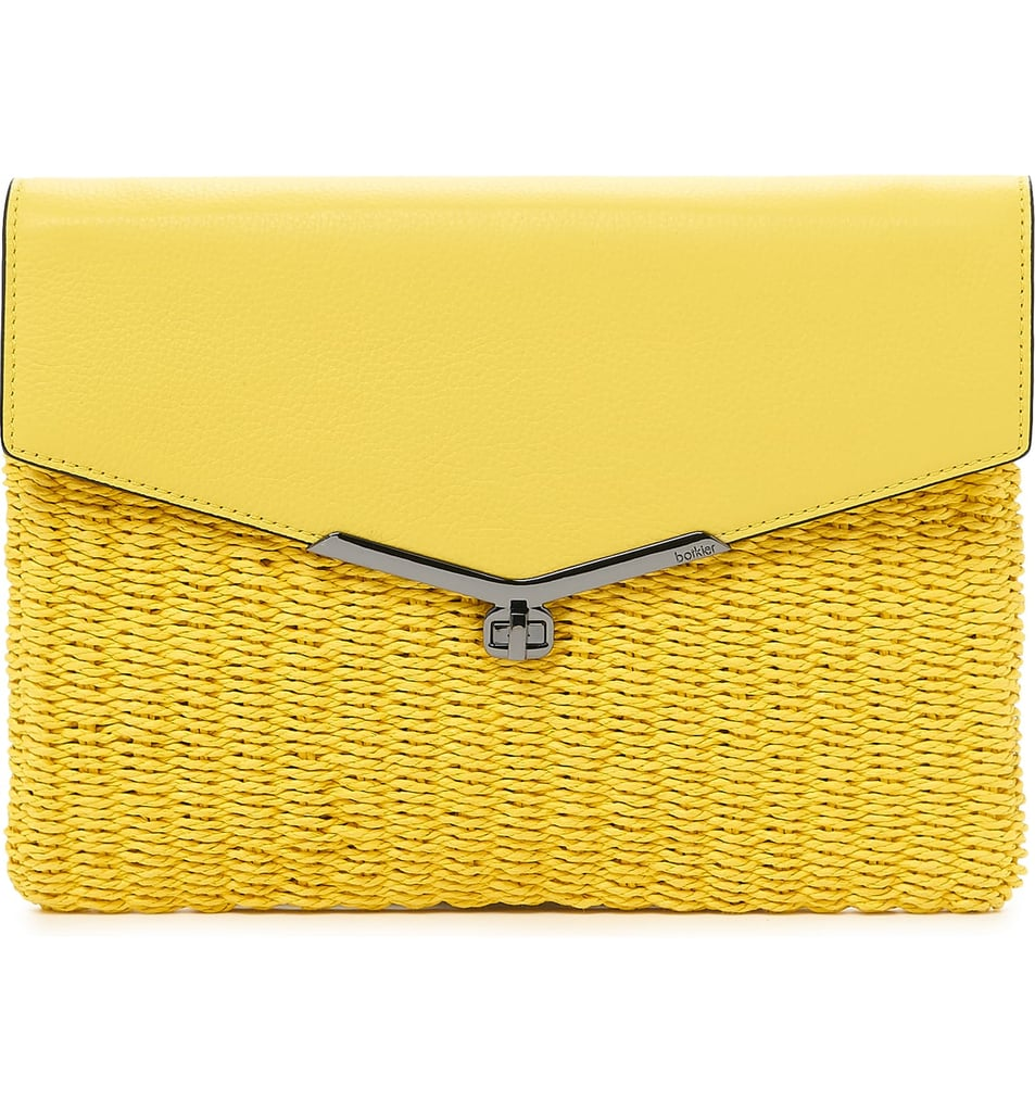 Straw & Leather Envelope Clutch