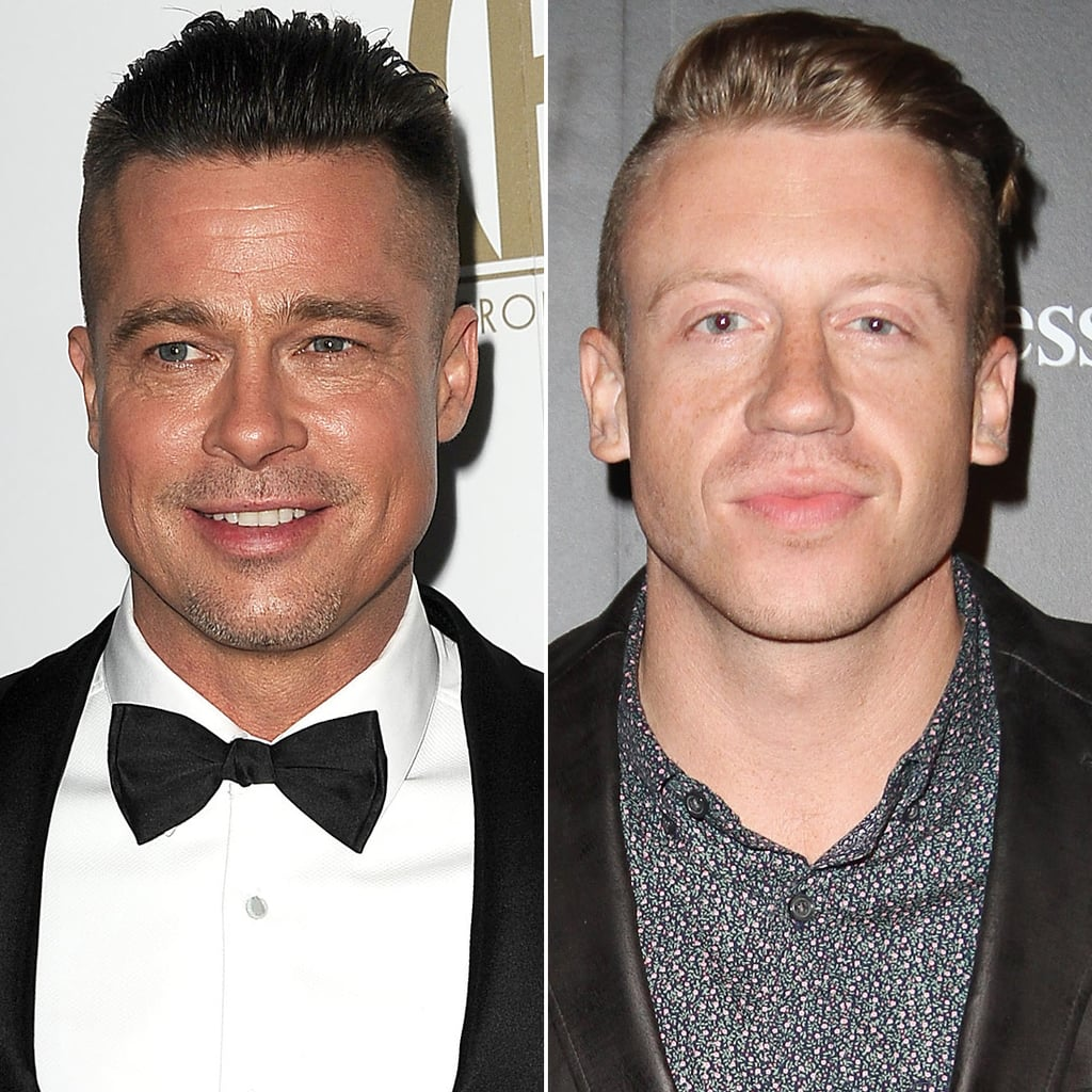 Brad Pitts Haircut Looks Like Macklemores Popsugar Celebrity