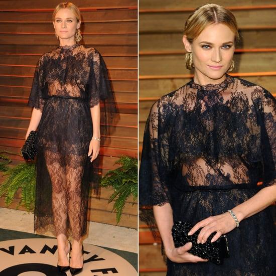 Diane Kruger Black Lace Dress at Vanity Fair Oscars Party