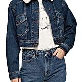 Topshop Crop Faux Shearling Collar Denim Jacket