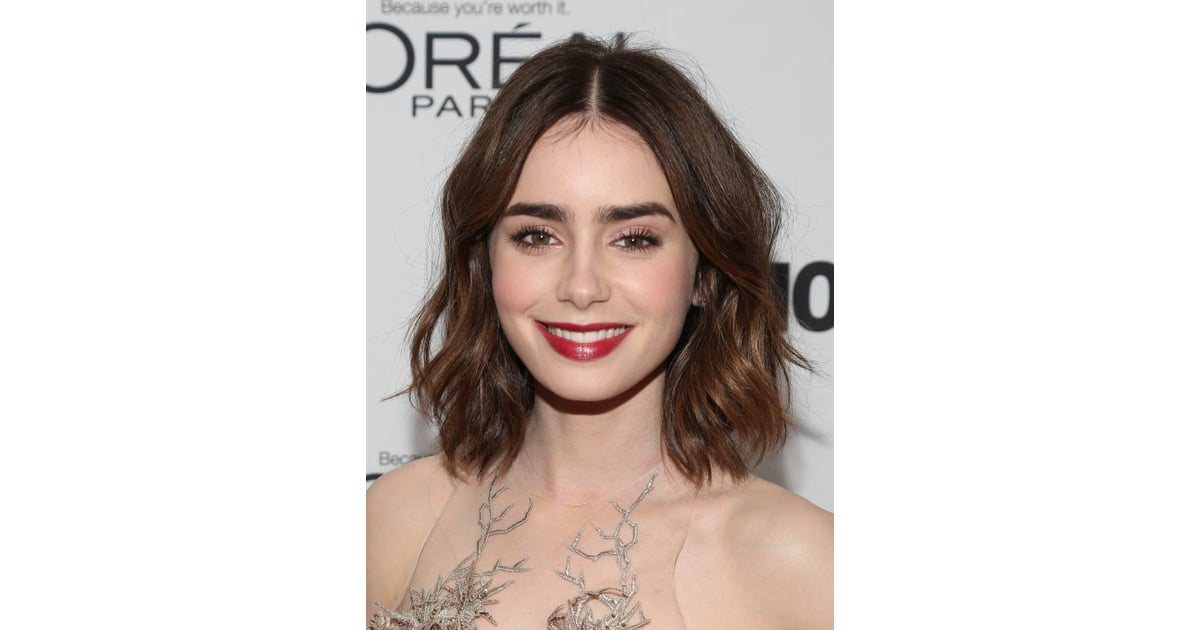 lily collins celebrities with a lob haircut popsugar