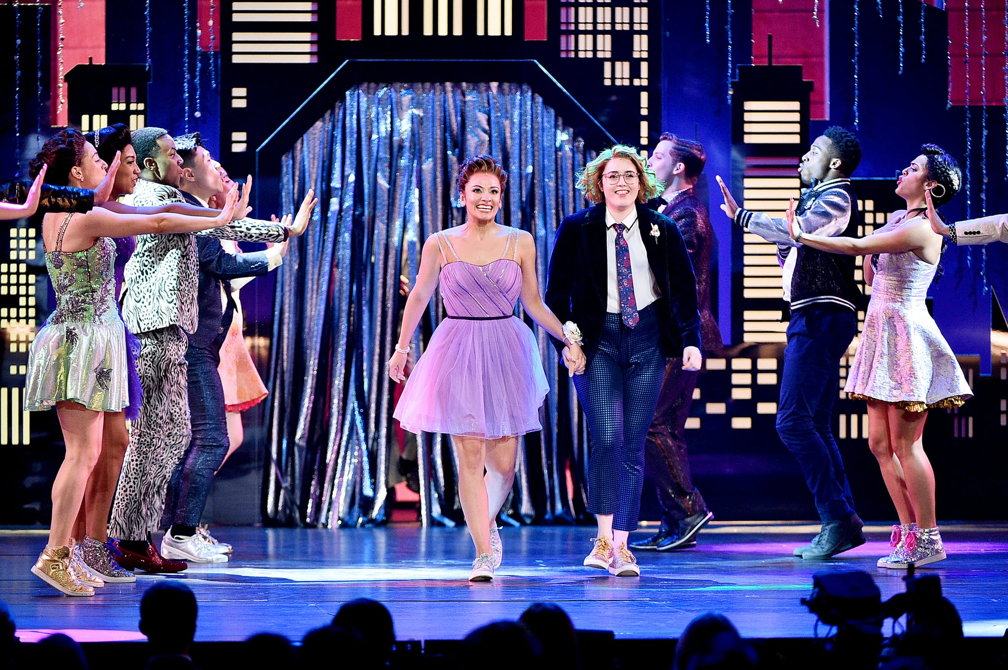NEW YORK, NEW YORK - JUNE 09: Isabelle McCalla, Caitlin Kinnunen, and The cast of The Prom perform onstage during the 2019 Tony Awards at Radio City Music Hall on June 9, 2019 in New York City. (Photo by Theo Wargo/Getty Images for Tony Awards Productions)