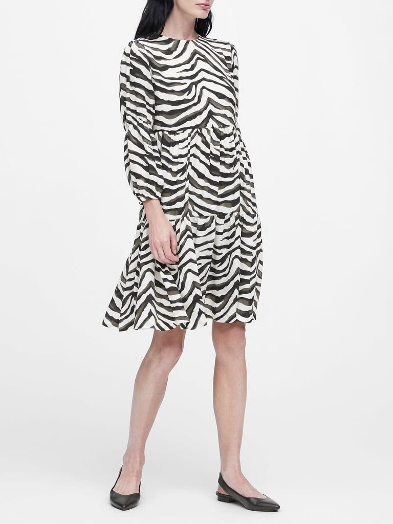 Japan Exclusive Zebra Print Tiered Dress