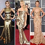 Jennifer Lawrence, Stacy Keibler, and Taylor Swift all donned ultraglamorous gold looks, proving that a dramatic gilded number is a serious red-carpet statement. From metallic lamé to embellished beading, these shades of gold provided a super formal evening ensemble. From left to right: Jennifer Lawrence in Prabal Gurung, Stacy Keibler in Marchesa, and Taylor Swift in Zuhair Murad