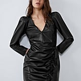 Ruffled Faux Leather Dress