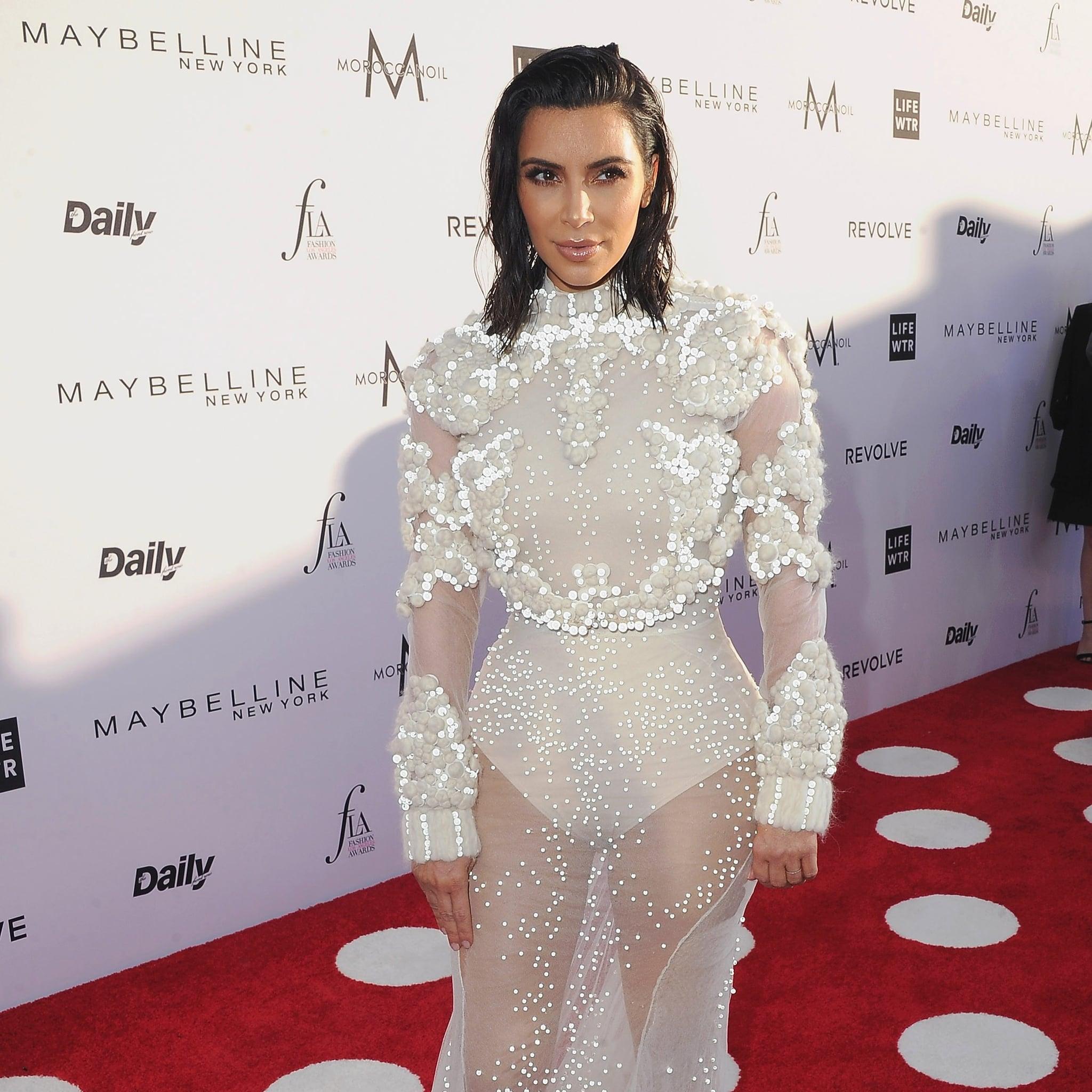 Kim Kardashian\'s Dress Daily Front Row Fashion Awards 2017 ...