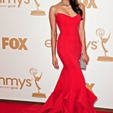 The Vampire Diaries star Nina Dobrev wore a body-hugging red dress.