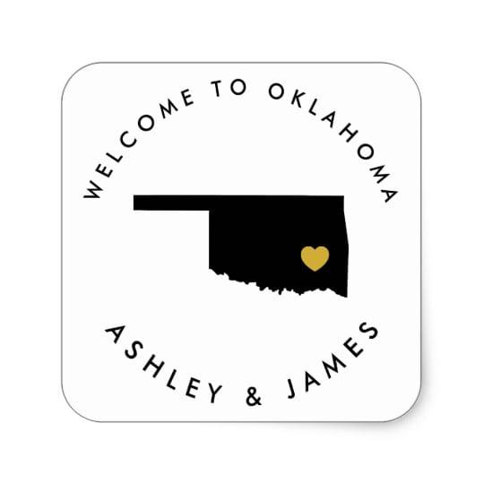 Oklahoma Wedding Welcome Sticker Tags