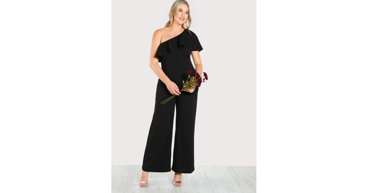 b877e90098 Shein One-Shoulder Ruffle Palazzo Jumpsuit | Plus-Size Jumpsuits | POPSUGAR  Fashion Photo 4