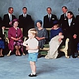 Prince William at Prince Harry's Christening in 1984 Wearing a White Shirt With Blue Details