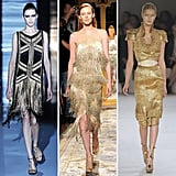 Fringed, retro-inspired, and structured — no matter how you spin it, the Spring '12 runways were dripping in gold. From left to right: Gucci, Marchesa, and Alexander McQueen