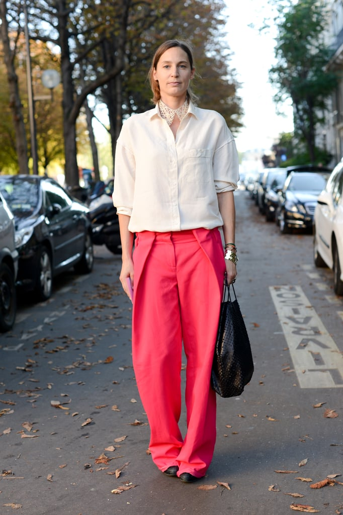 Bold Ferragamo trousers were the statement-makers in this look.