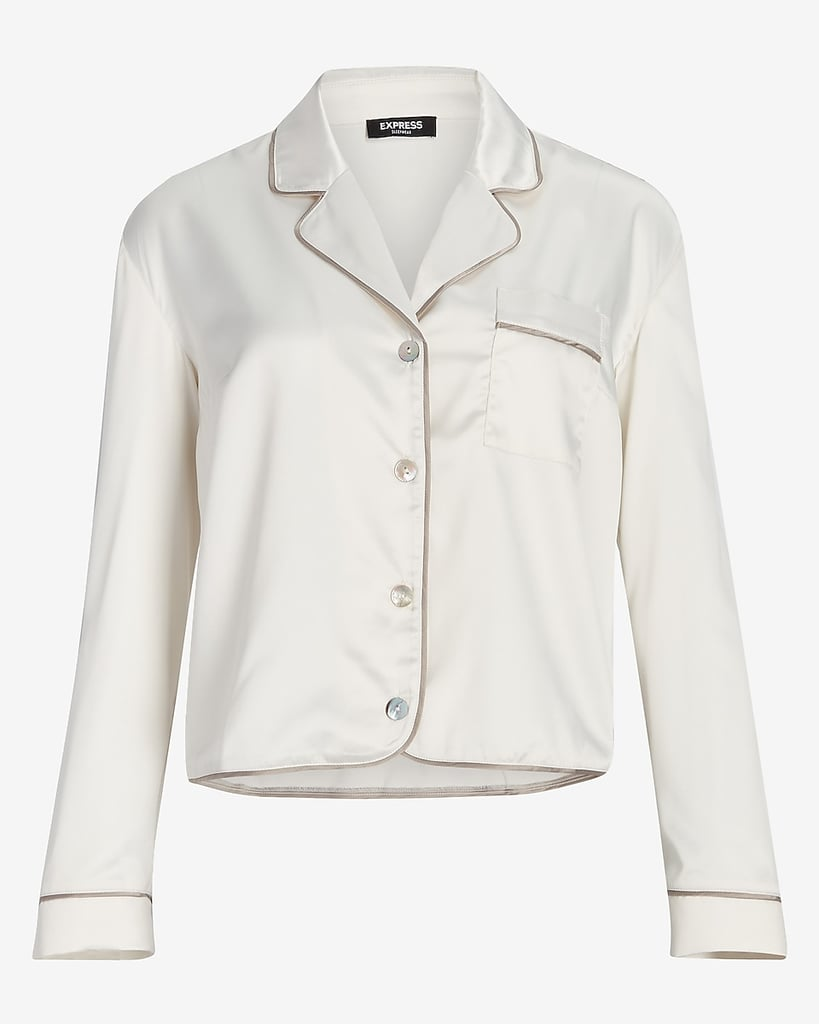 Satin Long Sleeve Pajama Shirt