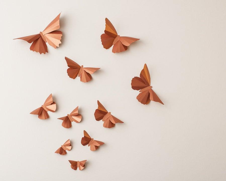 Copper Butterflies 3D Wall Decor