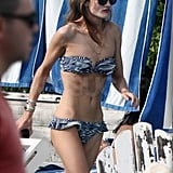 Rosie Huntington-Whiteley wore a black and white bikini.