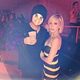 Brittany Snow wore a bumblebee dress at a party with a pal.  Source: Instagram user brittsnowhuh