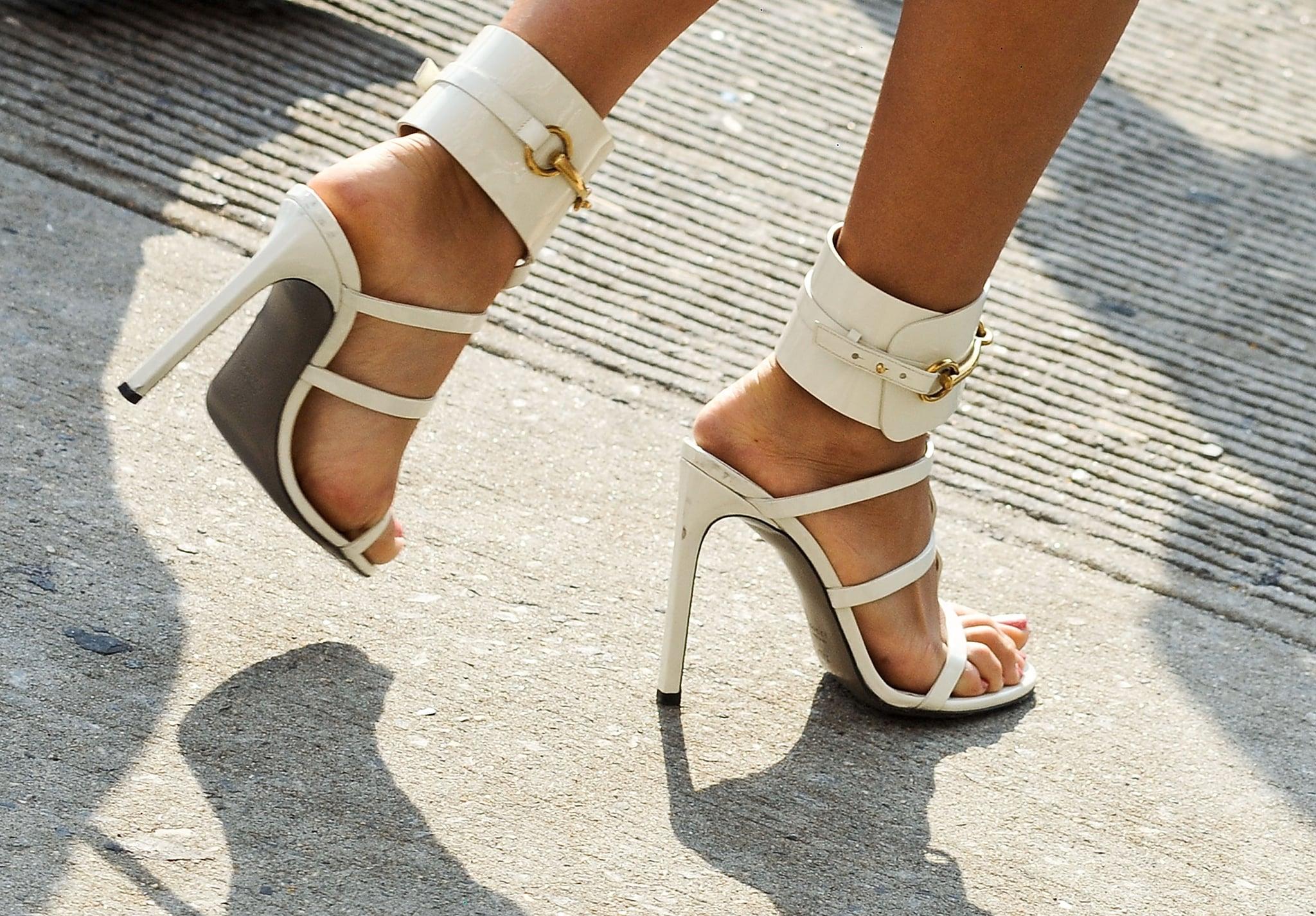 Bright white Gucci heels.