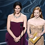 She also presented onstage with Jessica Chastain.