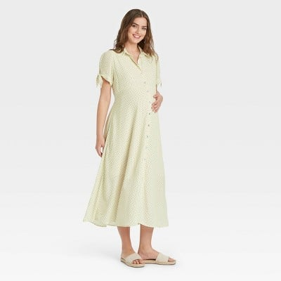 Maternity Marvel: The Nines by HATCH Tie Short Sleeve Crepe Maternity Dress