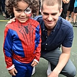 Andrew met up with a tiny Spider-Man fan at an elementary school in Miami in April 2014.