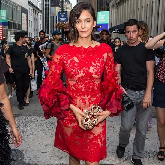 Nina Dobrev's Red Marchesa Dress at Fashion Week