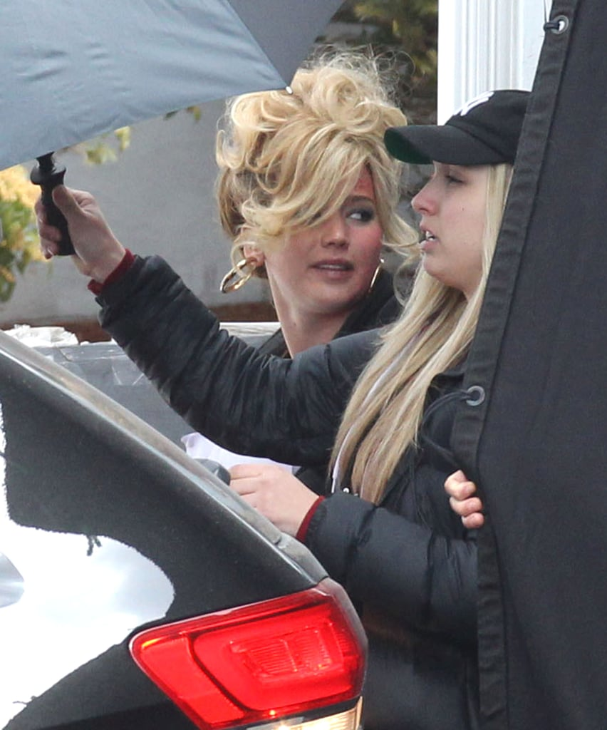 Jennifer Lawrence wore her hair on top of her head on set in Boston.