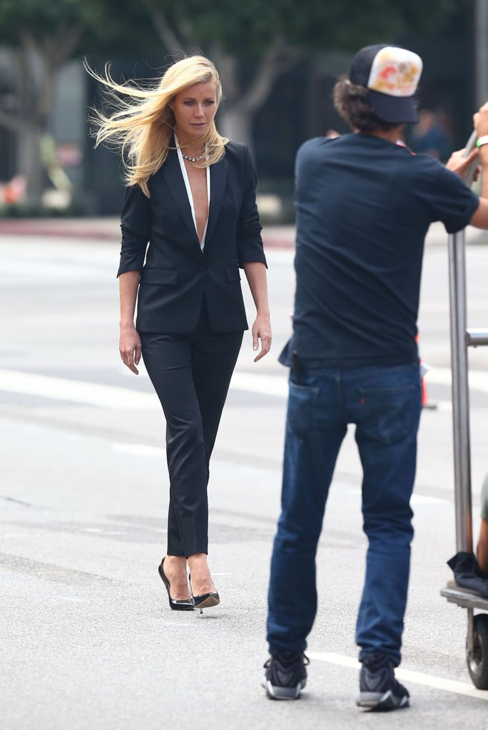 Gwyneth Paltrow strutted her stuff on the set of an ad campaign for Hugo Boss in LA this week. She treated a closed-off street like a catwalk on Thursday and showed a bit of skin in a revealing suit on Monday. Gwyneth was named the face of the brand's Boss Jour Pour Femme fragrance earlier this year and is also featured in ads for the perfume's nighttime counterpart, Nuit Pour Femme. She's hopping back on beauty-industry duties after premiering her latest film, Thanks For Sharing, in Hollywood last week, but it hasn't been all work for Gwyneth. Her lifestyle blog, Goop, recently celebrated its fifth year, and Gwyneth herself rang in her 41st birthday just last week.