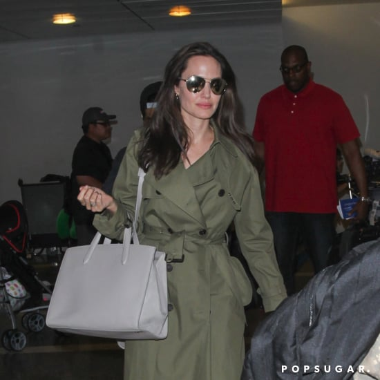 Angelina Jolie Carrying Gray Bag at Airport