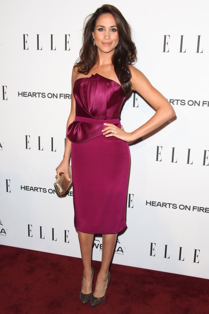 Meghan Wearing a Maroon Strapless Dress | Meghan Markle\'s First ...