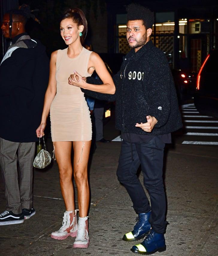 Bella Hadid Sheer Dress and Sneakers