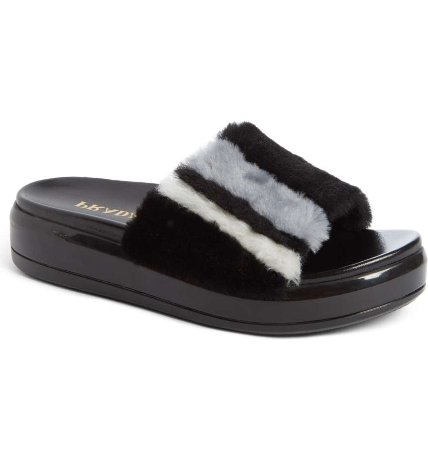 Prada Genuine Shearling Slide Sandal