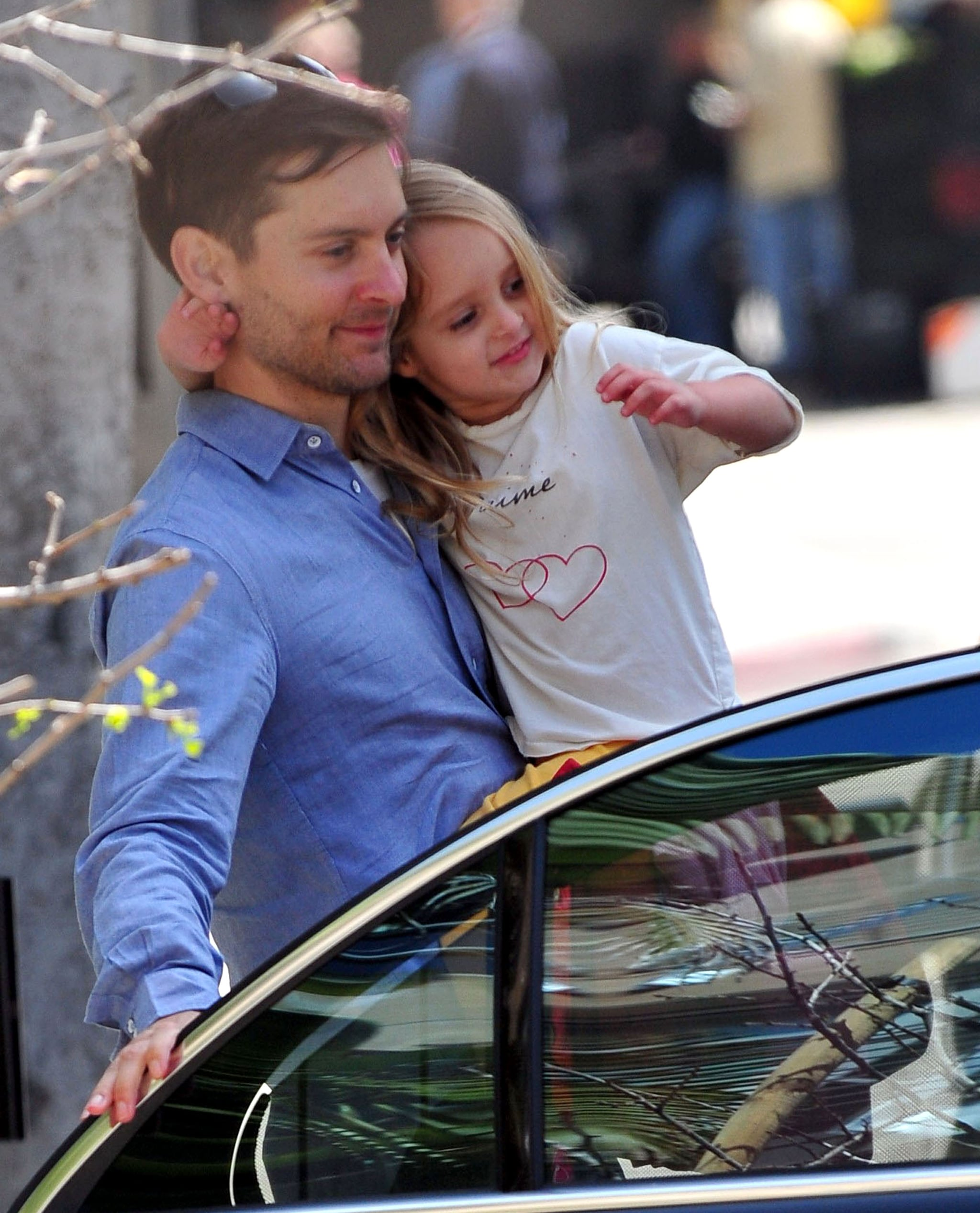 Tobey Maguire and His Little Gem Ruby Head Home From School Together