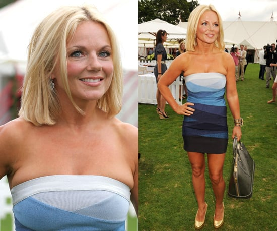 Photos of Geri Halliwell in Blue Bandage Dress by Herve Leger at Polo