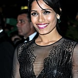 Freida Pinto looked sexy in a sheer black gown for the opening night dinner of the Cannes Film Festival.