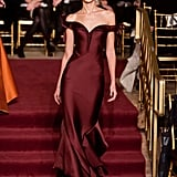 This burgundy satin Zac Posen Fall 2013 gown is the ideal silhouette for someone like Renée Zellweger, who is presenting an award on stage with her Chicago castmates.