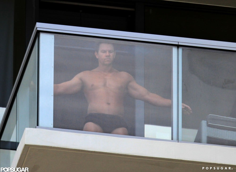 Mark Wahlberg got spray tanned in his underwear at his Miami hotel.