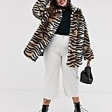 ASOS Design Tiger Faux Fur Button Through Coat