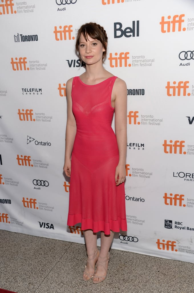 Mia Wasikowska paired a pink midi-length dress with nude strappy Brian Atwood sandals at the Tracks premiere.