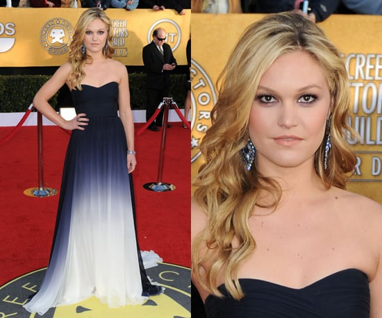 Julia Stiles Wears a Navy and White Ombre Gown to SAG Awards 2011